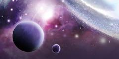 Planetes i estels a l'espai.