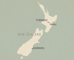 Ibalazwe laseNew Zealand. Izindawo eziveziwe (kusukela enyakatho kuya eningizimu) zihlanganisa iTurangi, iHautu (ikamu lokuhlushwa), ne-Oamaru.