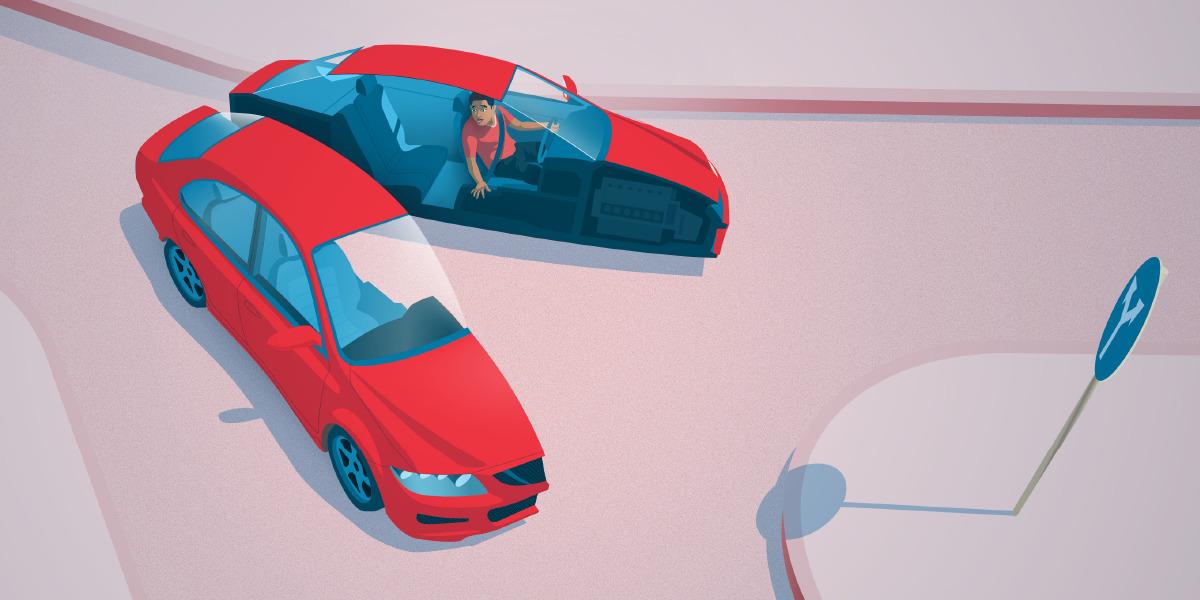 Una persona conduciendo un auto. Al llegar a un cruce, el auto se divide en dos y cada mitad va por una calle diferente.