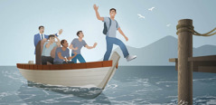 Ein Jugendlicher verlässt ein Boot, bevor es angelegt hat. Lehrer und Mitschüler im Boot versuchen, ihn davon zu überzeugen, es nicht zu tun.