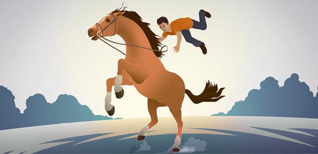 Дикая лошадь сбрасывает с себя паренька.