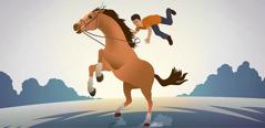 Poiss perutava hobuse seljast maha kukkumas.