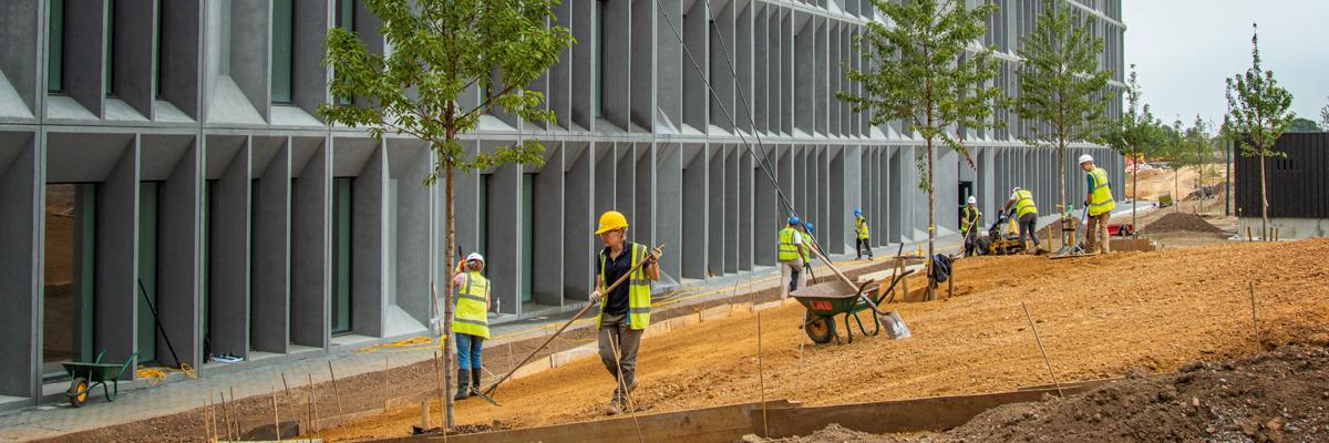 En la nueva sucursal de Gran Bretaña, un grupo de voluntarios preparan el terreno para sembrar césped. Cerca de ellos se ve a otros trabajadores limpiando las ventanas de las oficinas.