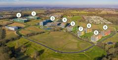 Ett flygfoto över avdelningskontoret i Storbritannien.