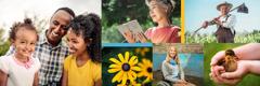 写真1: 幸せな家族。写真2: 聖書を読む年配の韓国人女性。写真3: 花。写真4: 車いすに座ってほほ笑んでいる少女。写真5: 畑でほほ笑む農家の男性。写真6: 子供の手の中にいるアヒルの子。
