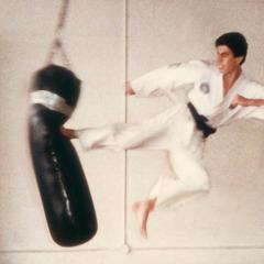 Erwin în timpul antrenamentelor, executând o lovitură laterală cu piciorul la sacul de box