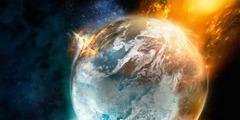 Planeta Terra pegando fogo.