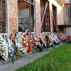 Memorial wreaths placed outside of a school in Beslan, Russia.