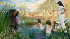 La joven Míriam escondida entre las cañas observando cómo la hija del faraón envía a su esclava a buscar la canasta en la que está el pequeño Moisés.