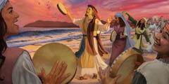 Míriam con las mujeres de Israel tocando la pandereta y cantando una canción de victoria junto al mar Rojo.