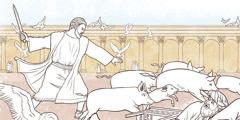 Mga negosyante ug tig-ilis ug kuwarta diha sa templo