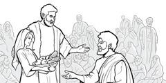 Ježiš dáva jedlo veľa ľuďom