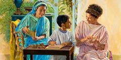 Lois och Eunike undervisar Timoteus