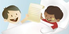 1. Deček piše pismo; 2. Deček se pogovarja po telefonu