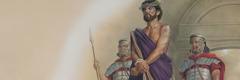 Jesus bevakas av soldater