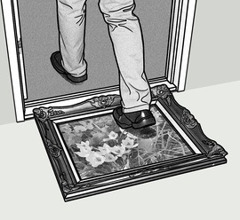 A painting being used as a doormat