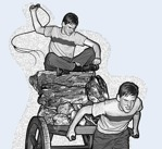A boy being forced to pull a heavy load