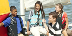 Teenagers sailing