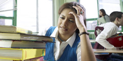 A girl under stress at school