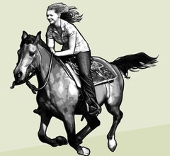 A girl riding a spirited horse
