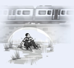 A boy jumping off a train