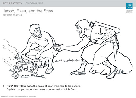 Download And Print This Coloring Page Learn About Jacob Esau Twin Brothers Who Didnt Always Get Along
