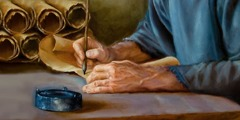 In ancient times, a man writing Bible verses