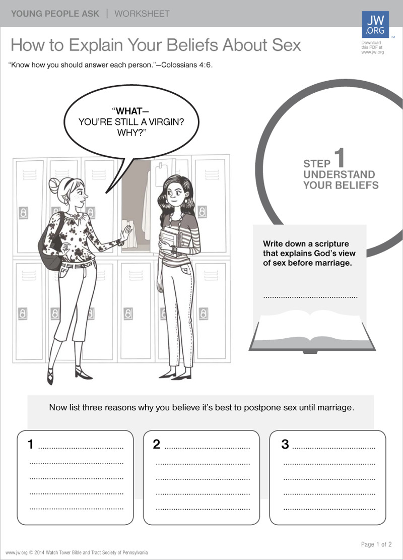 How to Explain Your Beliefs About Sex | Worksheets for Teenagers