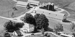 An aerial view of Watchtower Farms 50 years ago