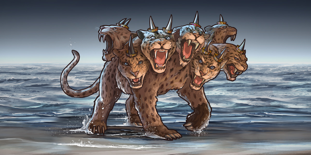 A wild beast with seven heads and ten horns, ascending out of the sea. It has the appearance of a leopard, the feet of a bear, a lion's mouth, and on its horns ten diadems.