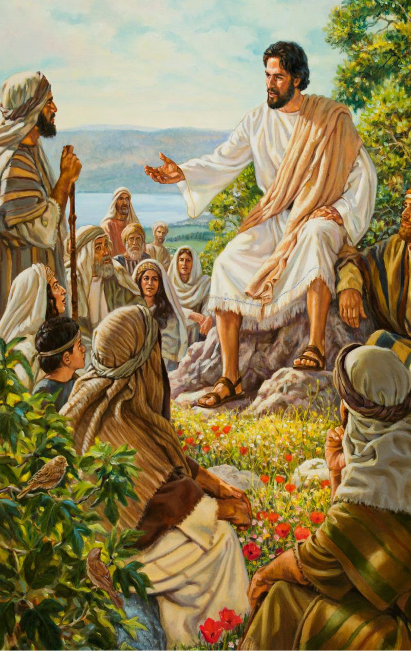 Tłum słucha Jezusa wygłaszającego Kazanie na Górze