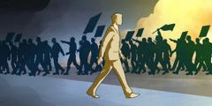 정치 문제로 시위를 벌이는 사람들과 함께하지 않고 다른 쪽으로 가는 여호와의 증인