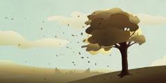 風の力によって木の葉が飛ばされている