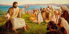Jesus teaching a crowd that includes men, women, and children