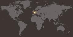 フランスの位置を示す世界地図
