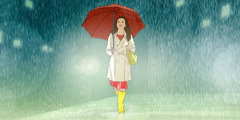 A teenage girl walking in the rain
