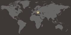 En världskarta där Rumänien är markerat