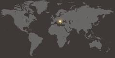Serbia en un mapamundi