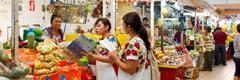 Testimonis de Jehovà parlen de Déu a una dona al mercat i usen una publicació en la seua llengua materna