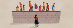 A wall blocking a teenage girl from the people who can help her