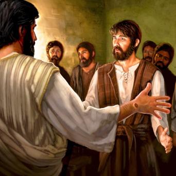 Jesus, com uma marca de prego na mão, aparece ressuscitado a Tomé e a outros discípulos
