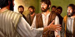 يسوع المقام يَظهر بالجسد للرسول توما وباقي التلاميذ، ويبدو اثر المسامير على يده