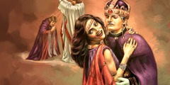 Babylon the Great depicted as a prostitute clothed in purple and scarlet