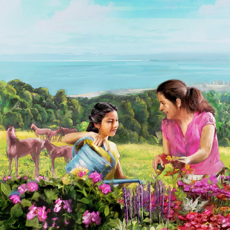 A woman and a little girl work together in a flower garden