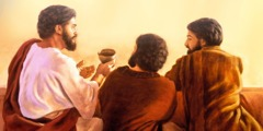 Jesus passes a cup of wine to two of his apostles
