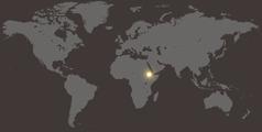 Карта мира, на которой отмечена Эфиопия