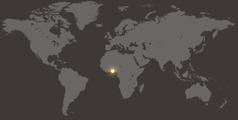 Benín en el mapamundi