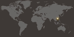 Un mapa di mundo cu ta mustra Hong Kong