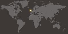 Карта мира, на которой отмечена Ирландия