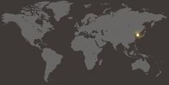 Mapa světa s vyznačením Jižní Koreje